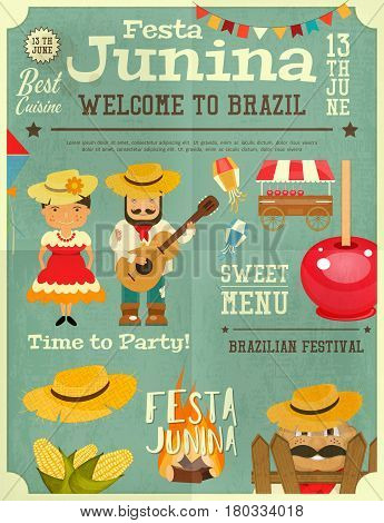 Festa Junina - Brazil June Festival. Retro Poster Infographic of Folklore Holiday. Vector Illustration.