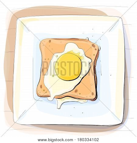 Color illustration of bread with butter and omelette on a plate