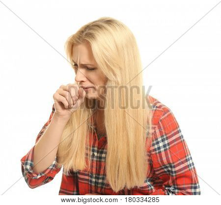 Young woman with allergy on white background