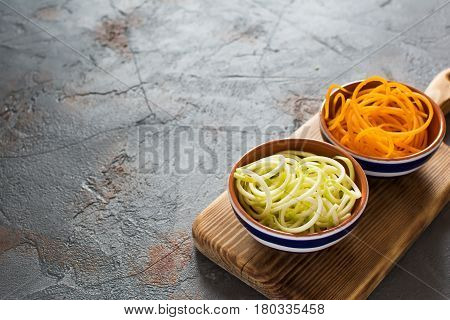 Spiralized Butternut Squash, Courgette On Table