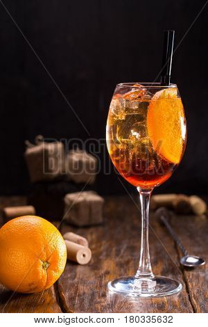 Aperol Shprits. Aperol, sparkling wine, soda, orange