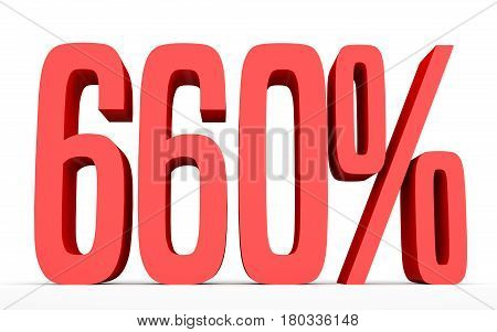 Six Hundred And Sixty Percent. 660 %. 3D Illustration.