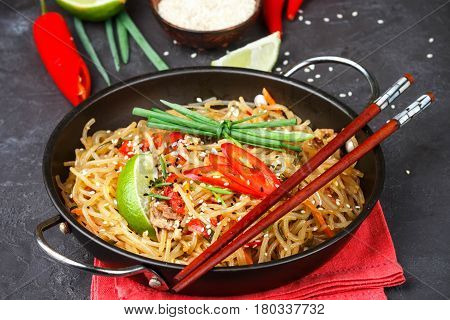 Starch (rice, Potatoes) Noodles With Beef And Vegetables - Bell Peppers, Carrots, Zucchini, Sesame,