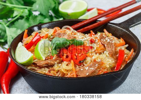 Starch (rice, Potatoes) Noodles With Beef And Vegetables - Bell Peppers, Carrots, Zucchini, Sesame S