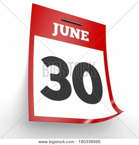 June 30. Calendar On White Background.