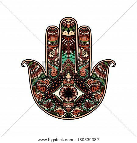 Multicolor Hand Drawn Illustration Of A Hamsa Hand Symbol. Hand Of Fatima Religious Sign With All Se