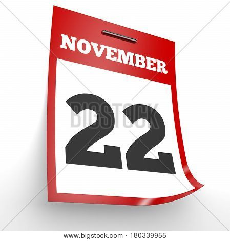 November 22. Calendar On White Background.