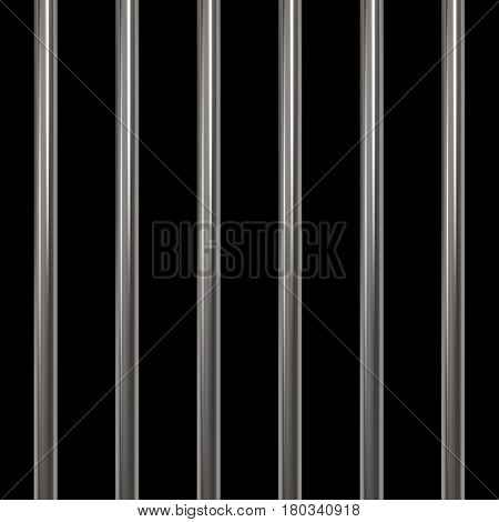 Steel prison bars on black background. Vector illustration.