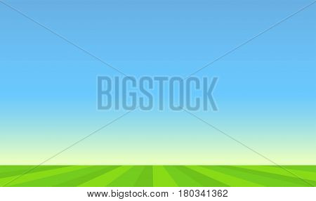 Vector Landscape Illustration with Green Pasture and Blue Sunny Sky.