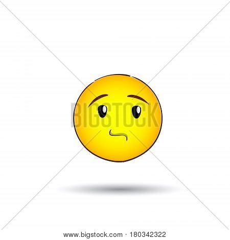 Yellow Smiling Face Neutral People Emotion Icon Flat Vector Illustration