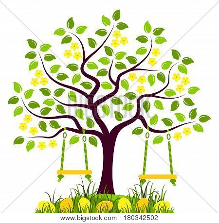 vector flowering tree with swings and easter eggs in grass isolated on white background