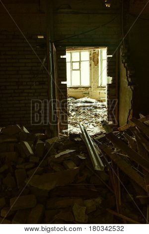 Monstrous destruction inside the house after the military bombing