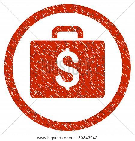 Accounting Case grainy textured icon inside circle for overlay watermark stamps. Flat symbol with dust texture.