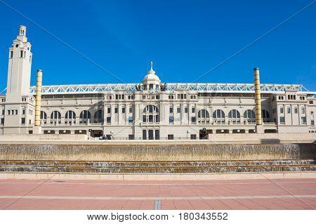 BARCELONA, SPAIN - OCTOBER 23, 2015: Building of   Stadium in Montjuic hill, Barcelona, Spain