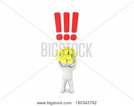 3D Character with sitcky notes on his head with exclamation points above his head. This image depicts the stress of people who work from 9 to 5.