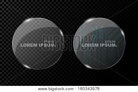 A banner from a flat realistic circle and from a shining bright 3d glass on a dark transparent background. New technology cyber texture beautiful blue pattern. Shine from glass