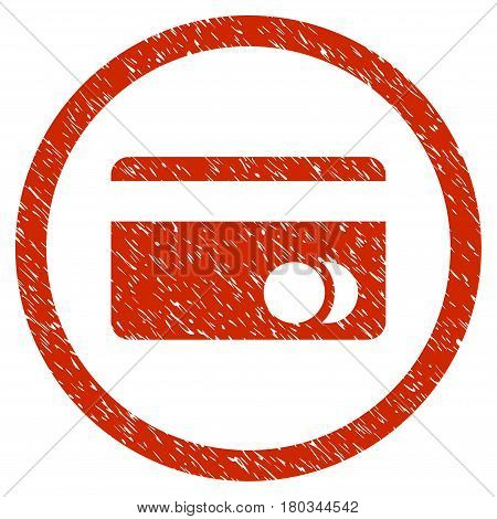 Banking Card grainy textured icon inside circle for overlay watermark stamps. Flat symbol with dirty texture. Circled dotted vector red ink rubber seal stamp with grunge design on a white background.