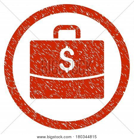Business Case grainy textured icon inside circle for overlay watermark stamps. Flat symbol with unclean texture.
