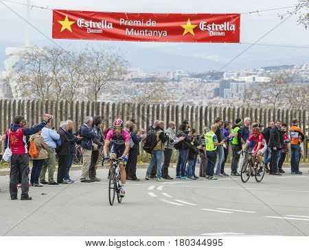 Barcelona Spain - March27 2016: The Italian cyclist Davide Cimolai of Lampre - MeridaTeam riding on the top of Montjuic in Bracelona Spainduring Volta Ciclista a Catalunya on March 27 2016.