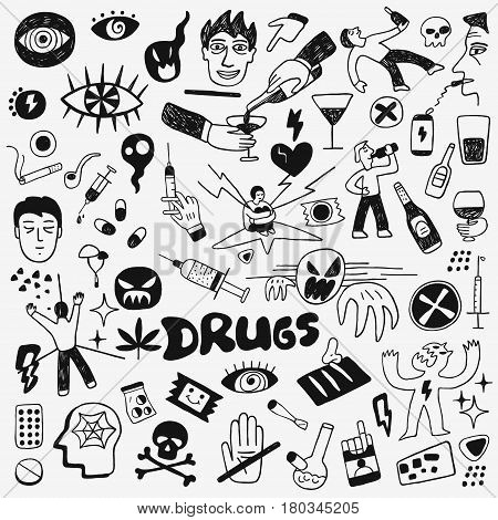 drugs addiction - vector cartoons collection , design elements
