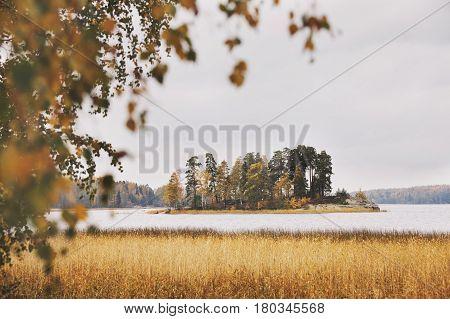 Island in Monrepo (Mon Repos) park. Autumn landscape. Vyborg.
