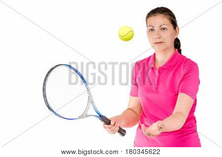 Active Girl Tossed The Ball Up For Tennis On A White Background Isolated