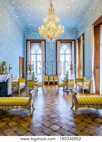 ALUPKA, RUSSIA - MAY 20, 2016: Inside the Vorontsov Palace in the town of Alupka, Crimea. This palace is a tourist attraction of the Crimea.
