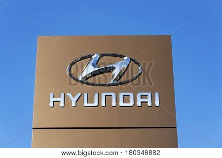 Prague, Czech Republic - March 31: Hyundai Company Logo On Czech Headquarters On November 7, 2016 In