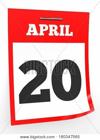 April 20. Calendar On White Background.