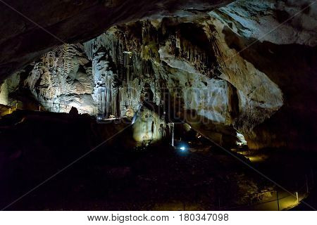 ALUSHTA, RUSSIA - MAY 21, 2016: The karst cave of Emine Bair Hosar in Chatyr-Dah mountain in Crimea.