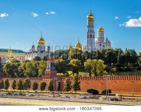 Churches and cathedrals in Moscow Kremlin. Kremlin Embankment in Moscow Russia.