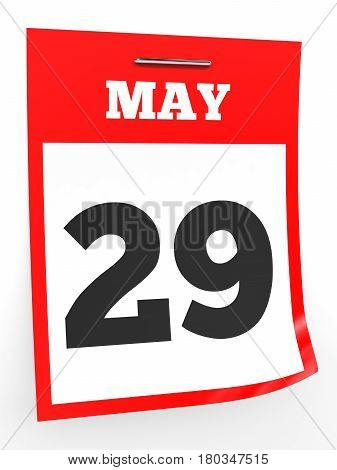 May 29. Calendar On White Background.