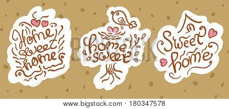 Home Sweet Home beautiful inscription letter designation. Selection of logo elements and design elements at home.
