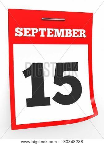 September 15. Calendar On White Background.