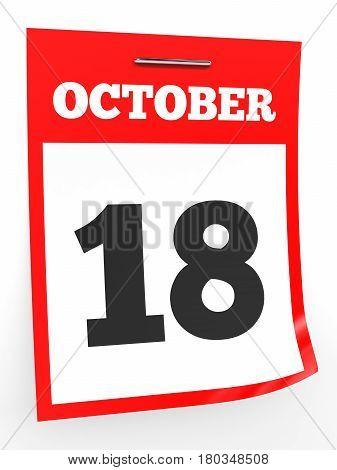 October 18. Calendar On White Background.
