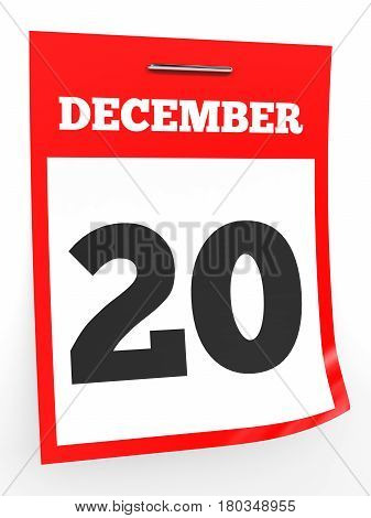 December 20. Calendar On White Background.