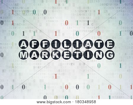 Finance concept: Painted black text Affiliate Marketing on Digital Data Paper background with Binary Code