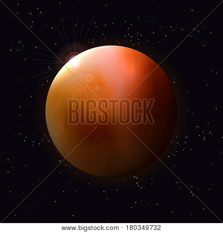 Realistic glowing planet Isolated. Glow with transparency on black background. Lighting effects. Glowing planet. Realistic space object. Universe. Solar system. Planet for design. Space