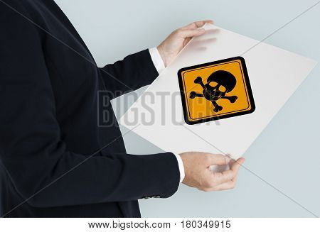 Safety sign symbolic warning placard