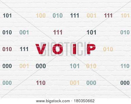 Web development concept: Painted red text VOIP on White Brick wall background with Binary Code