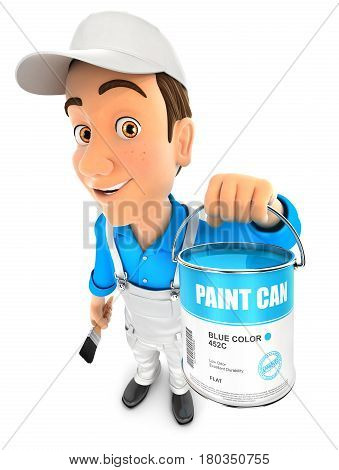 3d painter holding paint can illustration with isolated white background