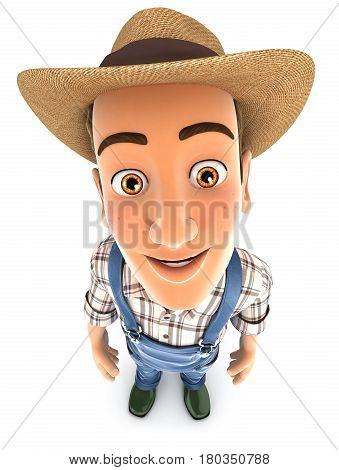 3d farmer standing and looking up at camera illustration with isolated white background