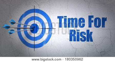 Success time concept: arrows hitting the center of target, Blue Time For Risk on wall background, 3D rendering