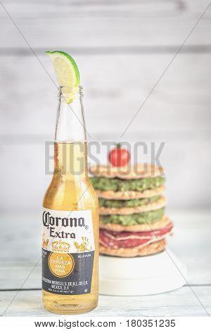 Bottle Of Corona Beer With Crispbread Sandwich