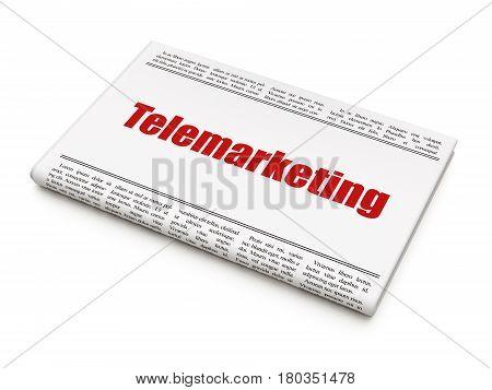 Advertising concept: newspaper headline Telemarketing on White background, 3D rendering