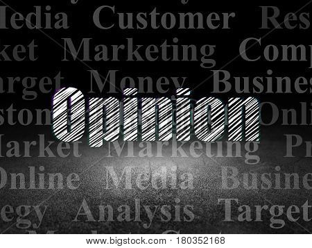 Marketing concept: Glowing text Opinion in grunge dark room with Dirty Floor, black background with  Tag Cloud