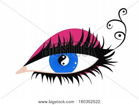 Beautiful female eye with makeup. Pupil in the form of yin and yang. Vector illustration