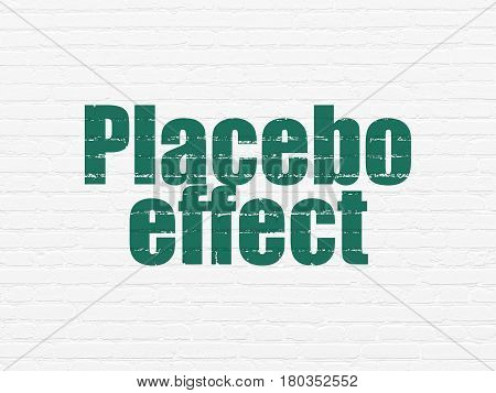 Healthcare concept: Painted green text Placebo Effect on White Brick wall background