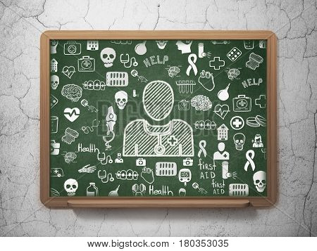 Medicine concept: Chalk White Doctor icon on School board background with  Hand Drawn Medicine Icons, 3D Rendering