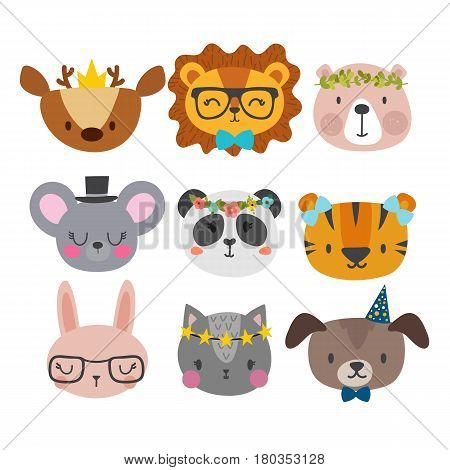 Cute Animals With Funny Accessories. Cat, Lion, Panda, Dog, Tiger, Deer, Bunny, Mouse And Bear. Cart